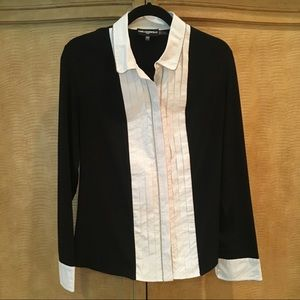 Karl Lagerfeld Tuxedo Shirt Blouse Button Down